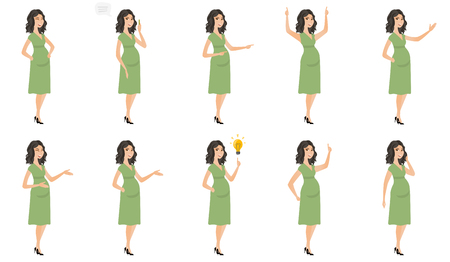 Young caucasian pregnant woman set. Pregnant woman laughing, gesticulating her hands, pointing at light bulb, pointing finger up. Set of vector flat design illustrations isolated on white background. Иллюстрация