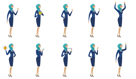 palm pilot: Young muslim stewardess set. Stewardess waving her hand, giving thumb up, showing victory gesture, ok sign, pointing finger up. Set of vector flat design illustrations isolated on white background.