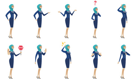 palm pilot: Young muslim stewardess set. Stewardess showing stop gesture, giving thumb down, standing under question mark, shrugging shoulders. Set of vector flat design illustrations isolated on white background