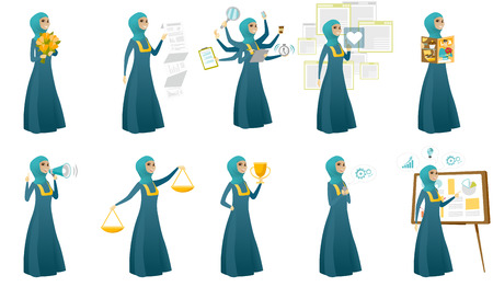 Young muslim business woman set. Business woman holding bouquet of flowers, trophy, reading magazine, speaking into loudspeaker. Set of vector flat design illustrations isolated on white background.