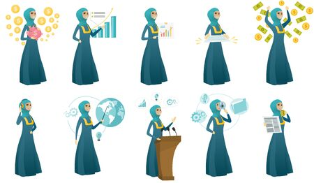 Young muslim business woman set. Set of vector flat design illustrations isolated on white background.