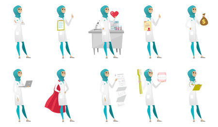 woman laptop: Young muslim doctor set. Doctor showing heart, certificate, thumbs up, money bag, document with presentation, using a laptop. Set of vector flat design illustrations isolated on white background. Illustration