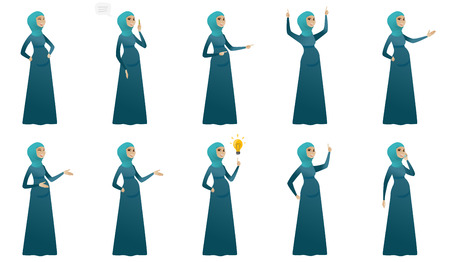 Young muslim pregnant woman set. Pregnant woman laughing, gesticulating her hands, pointing finger up, talking on the mobile phone. Set of vector flat design illustrations isolated on white background