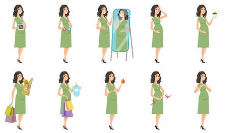 mirror image: Young caucasian pregnant woman set. Pregnant woman suffering from contractions, looking in the mirror, breaking the cigarette. Set of vector flat design illustrations isolated on white background. Illustration