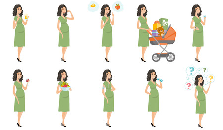 awaiting: Young caucasian pregnant woman set. Pregnant woman choosing between cupcake and apple, pushing baby pram, listening to music. Set of vector flat design illustrations isolated on white background.