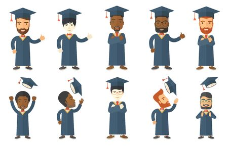 Cheerful graduate in cloak throwing mortarboard in air. Graduate throwing up his graduation hat. Students celebrating graduation. Set of vector flat design illustrations isolated on white background. Illustration