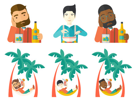 Young happy tourist chilling in hammock with a cocktail on the beach. Man lying in hammock with cocktail. Man drinking cocktail. Set of vector flat design illustrations isolated on white background.