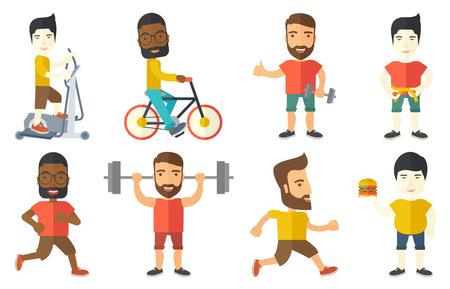 Junge Sportler laufen. Glücklicher männlicher Läufer joggen. In voller Länge von lächelnd männlichen Athleten läuft. Sportler in Sportkleidung läuft. Set von Vektor-flaches Design Illustrationen auf weißem Hintergrund.