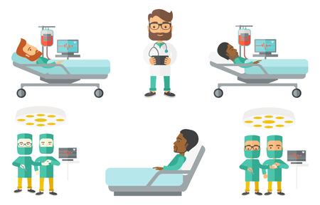 외과 수술 용 극장에서 근무하는 의료 제복을 입은. 외과 수술실에서 수술을 수행합니다. 수술을 하 고 외과 의사입니다. 흰색 배경에 고립 된 벡터 평