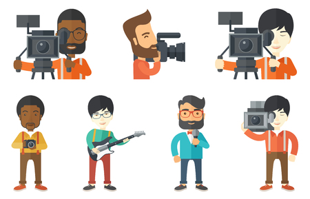 Cameraman looking through movie camera on tripod. Cameraman working with professional video camera. Young cameraman taking a video. Set of vector flat design illustrations isolated on white background