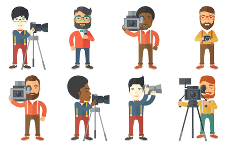 Photographer working with camera on a tripod. Photographer using professional camera. Photographer taking pictures with camera. Set of vector flat design illustrations isolated on white background.