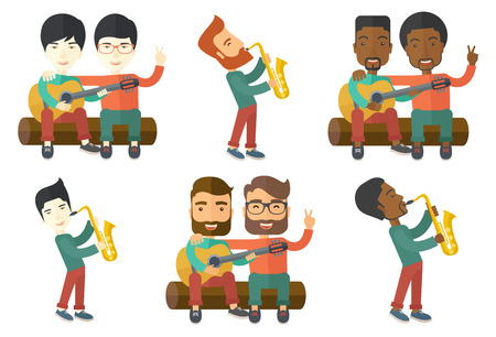 Pleased musician playing on saxophone. Musician with his eyes closed playing on saxophone. Young happy musician with saxophone. Set of vector flat design illustrations isolated on white background. Иллюстрация