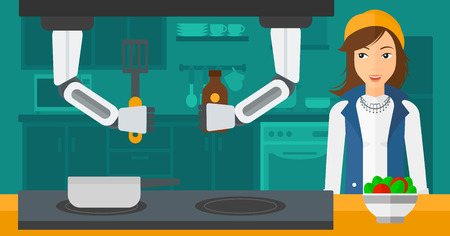 Domestic personal robot helps to his owner at kitchen. Domestic personal robot preparing breakfast at kitchen while his female owner stands nearby. Vector flat design illustration. Horizontal layout.