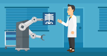 Caucasian doctor examining a radiograph with help of robot in hospital. Hipster doctor with the beard looking at radiograph that the robot holds. Vector flat design illustration. Horizontal layout.