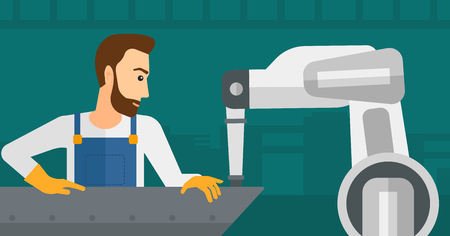 Young caucasian man working on industrial welding robotic arm at the factory. Hipster worker using industrial robotic arm in steel making plant. Vector flat design illustration. Horizontal layout.