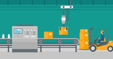 automated: Robotic arm raises cardboard boxes and stacks them on forklift truck. Automated robotic production line for packaging of bottles in cardboard boxes. Vector flat design illustration. Horizontal layout.