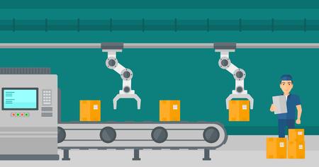 Ingénieur caucasien vérifiant le travail de la ligne de production automatisée robotisée pour l'emballage des produits dans des boîtes. Bras robotique travaillant sur la chaîne de production. Illustration vectorielle de design plat. Disposition horizontale.