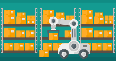 automate: Warehouse transportation robot. Warehouse robot putting cardboard boxes on racks. Factory robot working with cardboard boxes in modern warehouse. Vector flat design illustration. Horizontal layout. Illustration