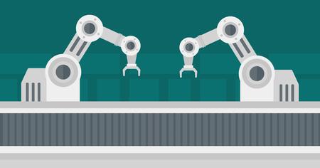 automated: Automated robotic production line. Automated robotic conveyor belt. Robotic arms working on conveyor belt. Vector flat design illustration. Horizontal layout. Illustration