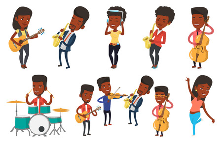 african sax: African-american man with eyes closed playing on saxophone. Young musician playing on saxophone. Smiling musician with saxophone. Set of vector flat design illustrations isolated on white background. Illustration