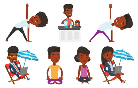 African-american sportsman meditating in yoga lotus pose. Sportsman relaxing in the yoga lotus position. Sporty man doing yoga. Set of vector flat design illustrations isolated on white background. Illustration