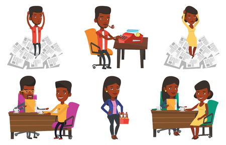 Two african women during business meeting. Businesswomen talking on business meeting. Women drinking coffee on business meeting. Set of vector flat design illustrations isolated on white background.