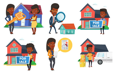 house for sale: African-american realtor offering the house. Realtor with placard for sale and documents standing on the background of house. Set of vector flat design illustrations isolated on white background. Illustration