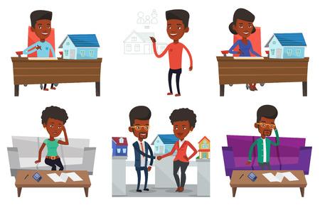 부동산 에이전트 집 구매 계약을 체결합니다. 부동산 에이전트 집 모델 및 홈 구매 계약 사무실에서 일하는. 흰색 배경에 고립 된 벡터 평면 디자인 일