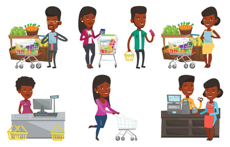 African-american man checking shopping list. Man holding shopping list near trolley with products. Man writing in shopping list. Set of vector flat design illustrations isolated on white background. Vectores