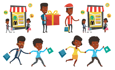 African-american woman and man using mobile shopping. Young woman and man walking in store that looks like tablet computer. Set of vector flat design illustrations isolated on white background. Illustration