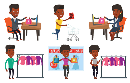 woman laptop: African-american man using laptop for online shopping. Young man shopping online. Smiling man making online order in virtual shop. Set of vector flat design illustrations isolated on white background. Illustration