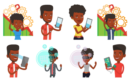 African-american man using smart mobile phone with retina scanner. Young happy man using iris scanner to unlock his mobile phone. Set of vector flat design illustrations isolated on white background.