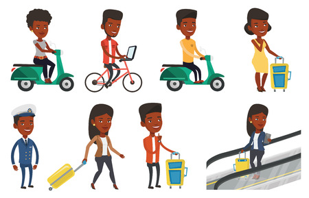 woman laptop: Young african-american woman riding a scooter outdoor. Smiling woman traveling on a scooter. Woman enjoying her trip on a scooter. Set of vector flat design illustrations isolated on white background.
