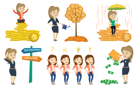 Caucasian business woman insurance agent. Female insurance agent holding umbrella over gold coins. Business insurance concept. Set of vector flat design illustrations isolated on white background.