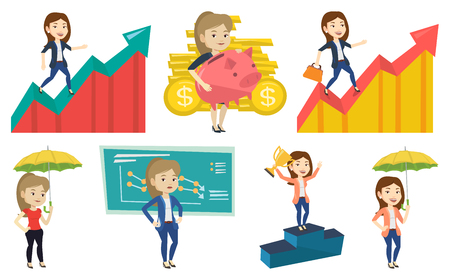 Caucasian business woman running along the profit chart. Business woman standing on profit chart. Concept of business profit. Set of vector flat design illustrations isolated on white background.