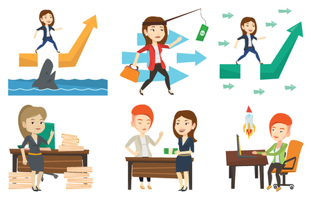 Businesswoman facing with business obstacle. Businesswoman coping with business obstacle successfully. Business obstacle concept. Set of vector flat design illustrations isolated on white background. Stock Illustratie