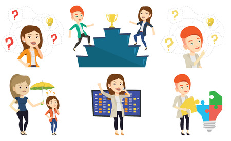 Businesswomen competing to get gold trophy. Competitive businesswomen running up for the winner cup. Business competition concept. Set of vector flat design illustrations isolated on white background.