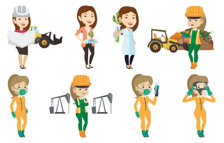 Jonge Kaukasische arbeider van vuilnisstortplaats die zich met uitgespreide wapens bevinden. Vrouw die zich op de achtergrond van vuilnisstortplaats en bulldozer bevindt. Reeks vector vlakke die ontwerpillustraties op witte achtergrond worden geïsoleerd.