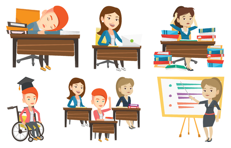 woman laptop: Fatigued student sleeping at the desk with books. Tired girl sleeping after learning. Girl sleeping among the books at the table. Set of vector flat design illustrations isolated on white background.