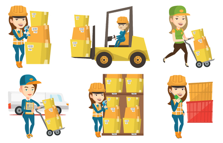 Young female warehouse worker checking barcode of boxes with a scanner. Caucasian female warehouse worker working with a scanner. Set of vector flat design illustrations isolated on white background.