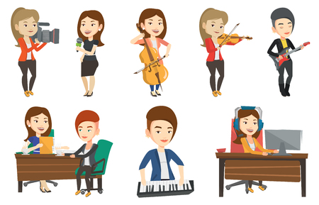 Young happy caucasian musician playing cello. Cellist playing classical music on cello. Young female musician with cello and bow. Set of vector flat design illustrations isolated on white background. Ilustrace