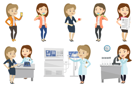 Woman checking blood pressure with smartphone app. Woman taking care of health and measuring heart rate pulse with smartphone app. Set of vector flat design illustrations isolated on white background. Illustration