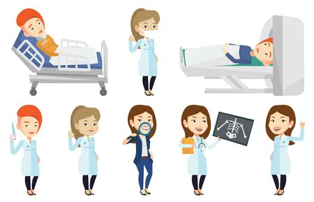 Caucasian woman undergoes a magnetic resonance imaging scan test. Magnetic resonance imaging machine scanning female patient. Set of vector flat design illustrations isolated on white background.