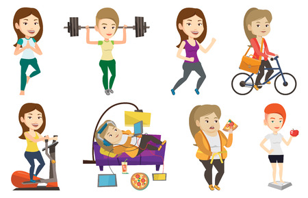 Caucasian woman weighing after diet. Woman satisfied with result of diet. Woman on a diet. Dieting and healthy lifestyle concept. Set of vector flat design illustrations isolated on white background.