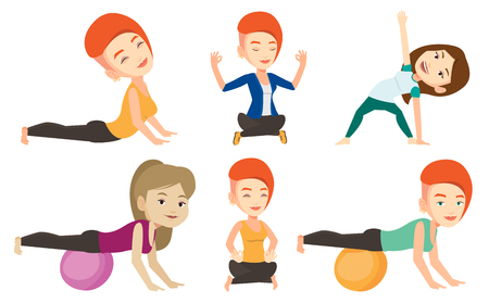 fitball: Woman exercising with fitball. Woman training triceps and biceps while doing push ups on fitball. Woman doing exercises on fitball. Set of vector flat design illustrations isolated on white background Illustration