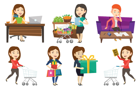 Woman rushing to shopping with trolley. Woman with empty shopping trolley running into the shop. Woman pushing shopping trolley. Set of vector flat design illustrations isolated on white background.