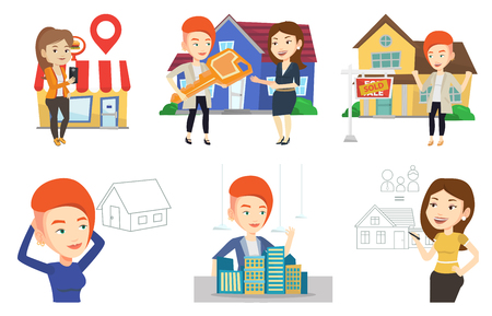 Caucasian woman drawing family house. Woman drawing a house with a family. Woman dreaming about future life in a new family house. Set of vector flat design illustrations isolated on white background.