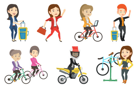 Caucasian woman riding a bicycle to work. Businesswoman with laptop on a bike. Businesswoman working on a laptop while riding a bicycle. Vector flat design illustration isolated on white background.
