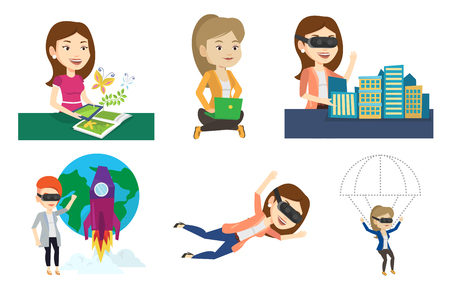 woman laptop: Woman wearing virtual reality glasses and flying with parachute. Woman in vr headset having fun while flying in virtual reality. Set of vector flat design illustrations isolated on white background.