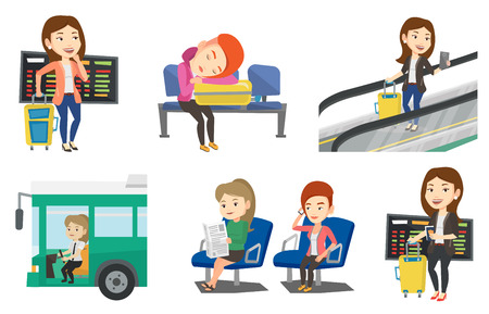 Woman waiting for a flight at the airport. Passenger with suitcase standing at the airport on the background of departure board. Set of vector flat design illustrations isolated on white background.